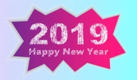 2019 Szczęśliwych nowy rok inskrypcji na tle łamany lód ilustracja ilustracji