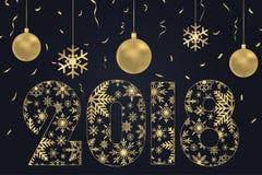 2018 Szczęśliwych nowy rok kart - robić od płatków śniegu z złocistymi Bożenarodzeniowymi piłkami i złotymi confetti Wakacyjny pl Obrazy Royalty Free