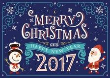 2017 Szczęśliwych nowy rok Kartka z pozdrowieniami, Kartka bożonarodzeniowa Fotografia Royalty Free