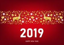 2019 Szczęśliwych nowy rok kartka z pozdrowieniami na czerwonym tle Zdjęcie Royalty Free