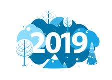 2019 Szczęśliwych nowy rok kartka z pozdrowieniami Zima wakacje krajobrazu pojęcie z drzewami, górami, świerczyną i jodłą, wektor ilustracja wektor