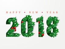 2018 szczęśliwych nowy rok Liczby ciąć od papieru dekorowali z realistycznymi liśćmi holly i jagody Układu projekt dla prezentacj Obraz Royalty Free
