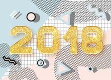 2018 szczęśliwych nowy rok Memphis styl ilustracja wektor