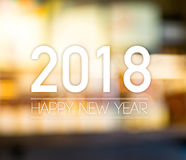 2018 Szczęśliwych nowy rok na abstrakcjonistycznym świątecznym plamy bokeh światła backgro Zdjęcia Stock