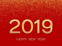 2019 Szczęśliwych nowy rok Nowego Roku 2019 kartka z pozdrowieniami złote numery ilustracji