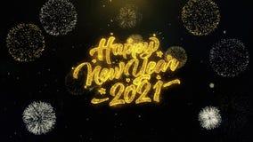 2021 szczęśliwych nowy rok pisać złocistych cząsteczkach wybucha fajerwerku pokazu