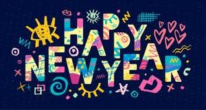 2018 szczęśliwych nowy rok 2007 pozdrowienia karty szczęśliwych nowego roku ilustracja wektor