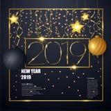2019 Szczęśliwych nowy rok tło dla twój ilustracja wektor