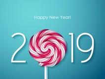2019 Szczęśliwych nowy rok tło Sezonowy kartka z pozdrowieniami szablon ilustracji