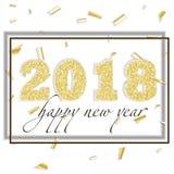 2018 szczęśliwych nowy rok Złoto liczb projekt kartka z pozdrowieniami Spada Błyszczący confetti Obraz Royalty Free