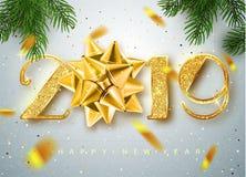 2019 Szczęśliwych nowy rok Złoto liczb projekt kartka z pozdrowieniami Spada Błyszczący confetti Złocisty jaśnienie wzór Szczęśli royalty ilustracja