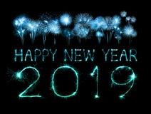 2019 szczęśliwych nowy rok z błyskotanie fajerwerkiem obraz royalty free