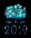 2019 szczęśliwych nowy rok z błyskotanie fajerwerkiem zdjęcie stock