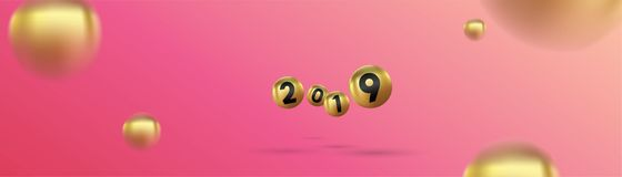 2019 Szczęśliwych nowy rok z kolor Bożenarodzeniowymi piłkami, abstrakcjonistycznymi piłki lub bąble 3d znaka kopii przestrzeń Św royalty ilustracja
