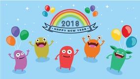 2018 szczęśliwych nowy rok Zabawa 2018 również zwrócić corel ilustracji wektora sztandar plakat Obraz Royalty Free