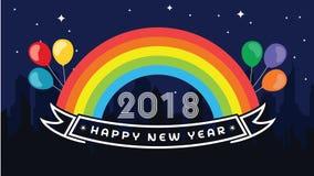 2018 szczęśliwych nowy rok Zabawa 2018 również zwrócić corel ilustracji wektora sztandar plakat Zdjęcia Royalty Free