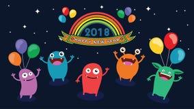 2018 szczęśliwych nowy rok Zabawa 2018 również zwrócić corel ilustracji wektora sztandar plakat Fotografia Stock