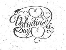 szczęśliwych valentines karciany dzień Chrzcielnica skład z sercami Wektorowa piękna Wakacyjna romantyczna ilustracja znaczek Zdjęcie Royalty Free