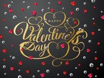 szczęśliwych valentines karciany dzień Złocisty chrzcielnica skład Zdjęcie Stock