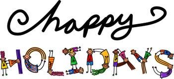 Szczęśliwych wakacji dzieciaków Tytułowy tekst Fotografia Royalty Free