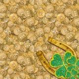 Szczęsliwa złota podkowa zdjęcia royalty free