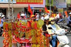 Szczęsliwi uroki dla sprzedaży, Tet nowy rok, Ho Chi Minh Obraz Stock