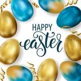 Szcz??liwa wielkanoc, maluj?cy jajka Wiosna wakacje, Wielkanocny t?o Wektorowa ilustracja EPS10 obraz royalty free