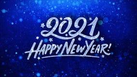 2021 Szcz??liwego nowego roku B??kitnych tekst?w ?yczy cz?steczek powitania, zaproszenie, ?wi?towania t?o royalty ilustracja