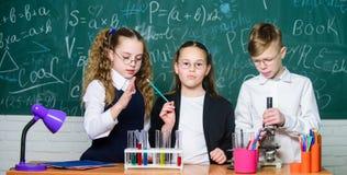 Szcz??liwi dzieci Biologii lekcja Biologii edukacja ucznie robi biologii eksperymentuj? z mikroskopem w lab biologia zdjęcie royalty free