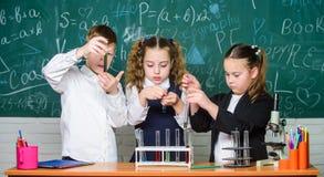 Szcz??liwi dzieci Biologii lekcja Ma?e dzieci uczy si? chemi? w lab Biologii edukacja ucznie robi biologii zdjęcia stock