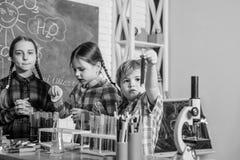 Szcz??liwi dzieci u?ywaj? tubki tylna szko?y Biologii edukacja mikroskop Biologii szkolny laborancki wyposa?enie obrazy stock