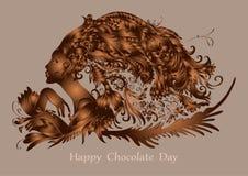 Szczęśliwy czekoladowy dzień, oryginalne czekolad postacie, wektorowy projekt fotografia royalty free