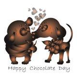Szczęśliwy czekoladowy dzień, wektorowa zaproszenie karta obraz royalty free