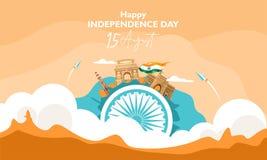 Szcz??liwy Dzie? Niepodleg?o?ci India 15 august pojęcie na chmurze Dla ulotki, plakat, sztandaru tła projekt Z dziedzictwa bui royalty ilustracja