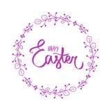 Szcz??liwy Easter mu?ni?cia r?ki literowanie na bia?ym tle Wakacyjna kartka z pozdrowieniami lub poczt?wka Wektoru znak z ma?ym c ilustracja wektor