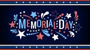 Szcz??liwy Memorial Day literowania zwrot w wektorze Krajowa ameryka?ska wakacyjna ilustracja z koloru abstraktem i gwiazdami royalty ilustracja