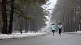 Szcz??liwy senior i m?ode Kaukaskie kobiety biega w ?nie?nym parku w zimie opowiada i ono u?miecha si? Tylny ?adunku elektrostaty zbiory