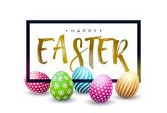 Szcz??liwy Wielkanocny Wakacyjny projekt z Kolorowym Maluj?cym Jajecznym i Z?otym typografia listem na Bia?ym tle international ilustracja wektor