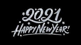 2021 Szcz??liwych nowego roku mrugania tekst?w ?yczy cz?steczek powitania, zaproszenie, ?wi?towania t?o royalty ilustracja