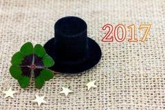 Szczęsliwa koniczyna, butla kapelusz i gwiazdy dla nowego roku 2017, Zdjęcia Royalty Free