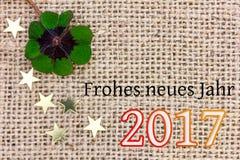 Szczęsliwa koniczyna i gwiazdy dla Nowego Year& x27; s wigilia 2017 Obraz Royalty Free
