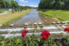 SZCZAWNICA - JUNE 21: Promenade along a river Szczawnica village Stock Photography