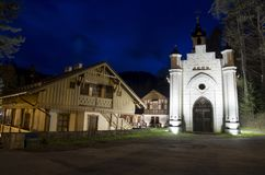 Szczawnica night photo. SZCZAWNICA, POLAND - April 25, 2017: vintage architecture illuminated in the evening in Szczawnica, Poland Royalty Free Stock Photo