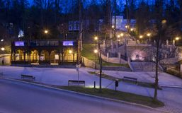 Szczawnica night photo. SZCZAWNICA, POLAND - April 25, 2017: vintage architecture illuminated in the evening in Szczawnica, Poland stock photography