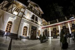 Szczawnica night photo. SZCZAWNICA, POLAND - April 25, 2017: vintage architecture illuminated in the evening in Szczawnica, Poland royalty free stock image
