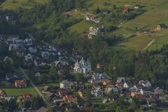 Szczawnica spa town in Poland in Pieniny national park. In sunny evening stock images