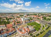 Szczecin - ландшафт старого городка с замком воздушный взгляд szczecin Стоковые Изображения