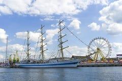 Szczecin, Польша, 7-ое августа 2017: Корабль на набережной во время ребра Стоковые Фото