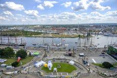 Szczecin, Польша, 7-ое августа 2017: Панорама набережной в Szczeci Стоковая Фотография RF