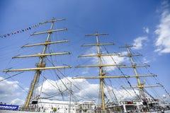 Szczecin, Польша, 7-ое августа 2017: Рангоут яхты плавания, в b Стоковые Изображения RF